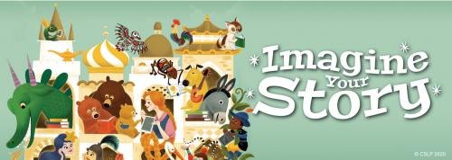 """Imagine Your Story"" Summer reading themed banner"
